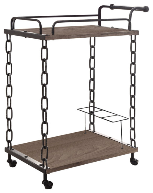Retro Serving Cart, Rustic Oak Antique Black.