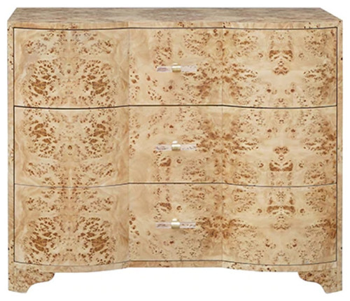 Worlds Away Plymouth Burl Wood 3 Drawer Dresser, Burl Wood