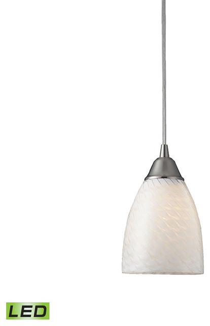 Arco Baleno 1-Light Pendant, Satin Nickel And White Swirl Glass, Led.