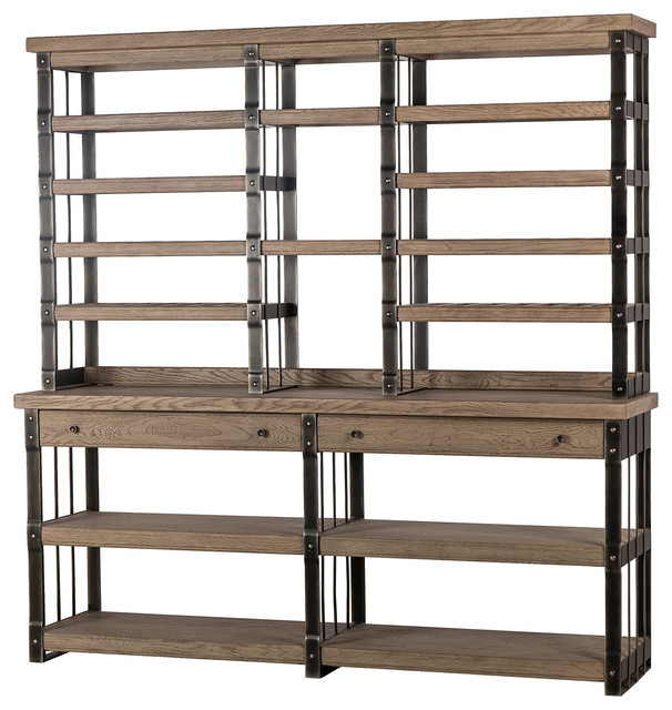 Maison 55 Will Modern Classic Wood Grey Metal Bookcase Display Case