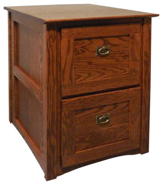 Mission Solid Oak 2 Drawer Filing Cabinet, Golden Oak  Traditional Filing Cabinets