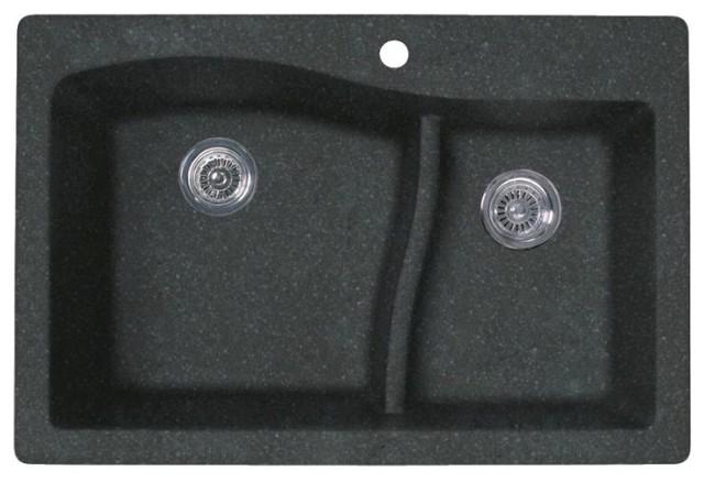Swan 33x22x5.625 Granite Kitchen Sink, 1-Hole, Nero.