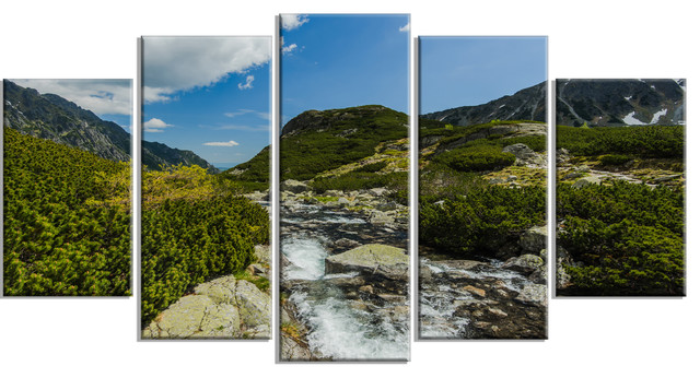 Alpine Stream In High Mountains Metal Wall Art Contemporary Metal Wall Art By Design Art Usa