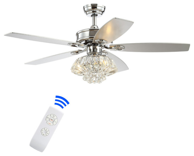 Kate 48 3 Light Crystal Drum Led Ceiling Fan With Remote Chrome Contemporary Ceiling Fans By Jonathan Y Houzz