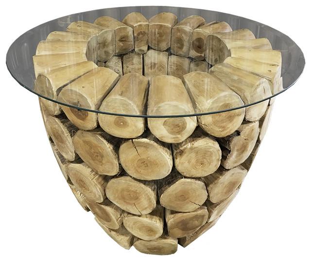Teak Log Coffee Table Bowl Shape Teak Branches Rustic Look Rustic