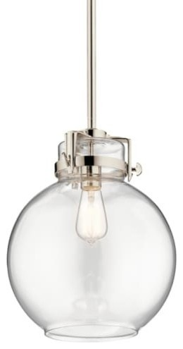 "Kichler 44141 Briar Single Light 12"" Pendant, Polished Nickel."