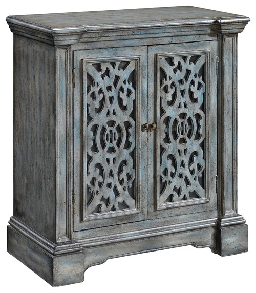 2-Door, 1-Shelf Cabinet, Texture Grey Blue Finish