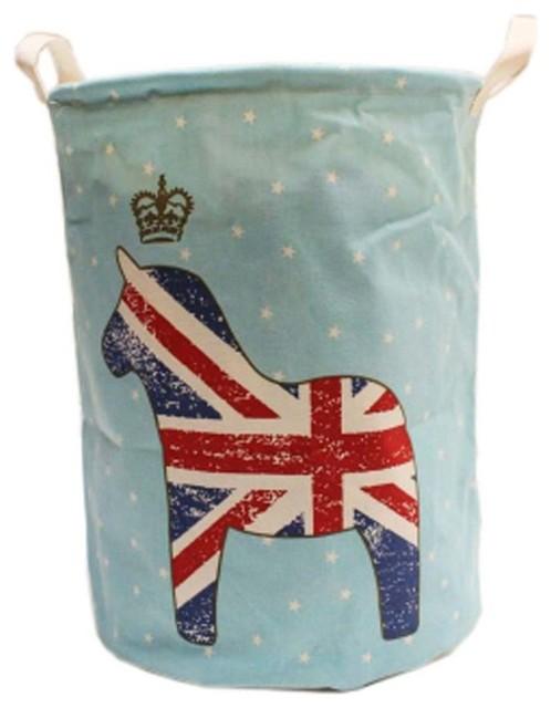 New British Style Foldable Large Laundry Basket, Hamper Storage, Blue Horse.