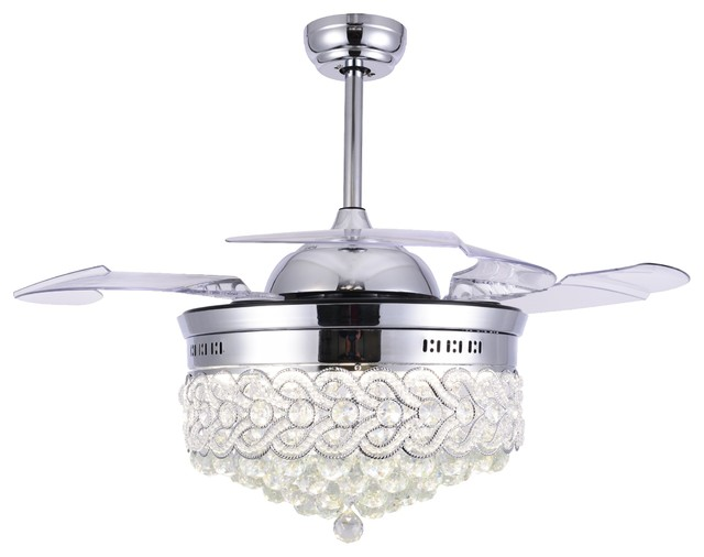 42 Quot Modern Crystal Ceiling Fan With Lights Retractable