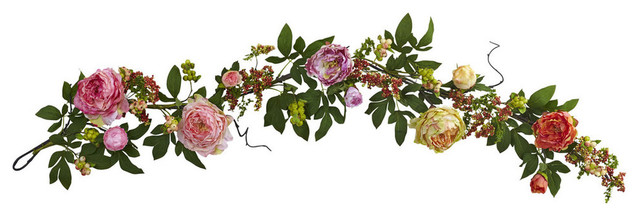 "60"" Mixed Peony And Berry Garland."