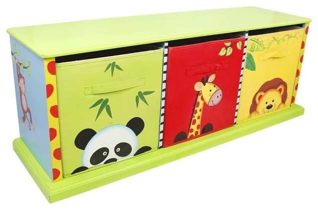 Sunny Safari Kids 3 Drawer Cubby Contemporary Kids Storage Benches And