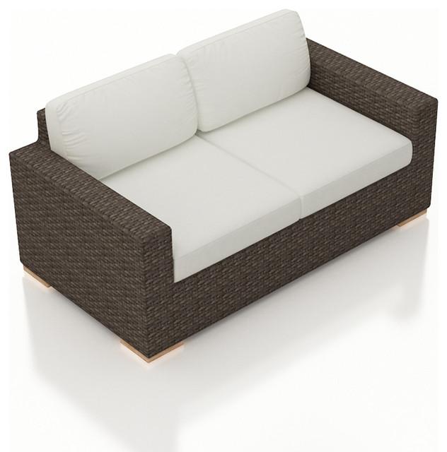 Arden Modern Outdoor Loveseat, Canvas Natural Cushions Tropical Outdoor  Loveseats