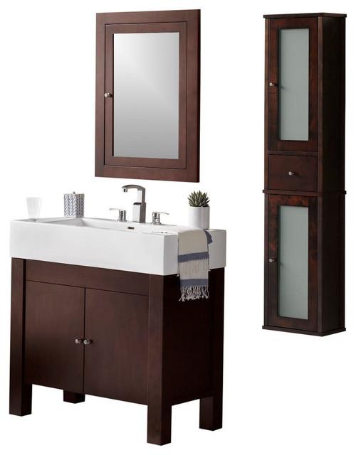 Ronbow Devon Solid Wood 36 Vanity Set Vintage Walnut Contemporary Bathroom Vanities And