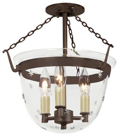 Small Semi Flush Classic Bell Lantern In Tiny Star Glass, Oil Rubbed Bronze.