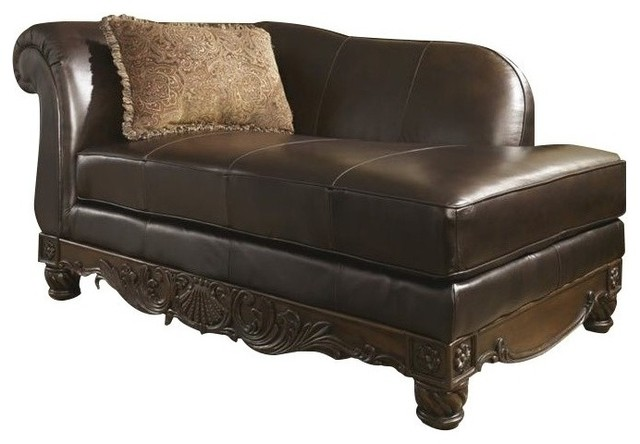 Bowery Hill Leather Right Chaise Lounge, Dark Brown.