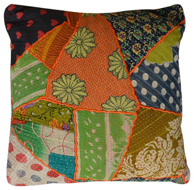Modelli Creations - Vintage-Style Patchwork Pillow - View in Your Room! Houzz