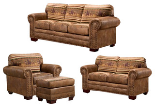 Wild Horses, 4 Piece Set With Sleeper - Rustic - Living Room ...