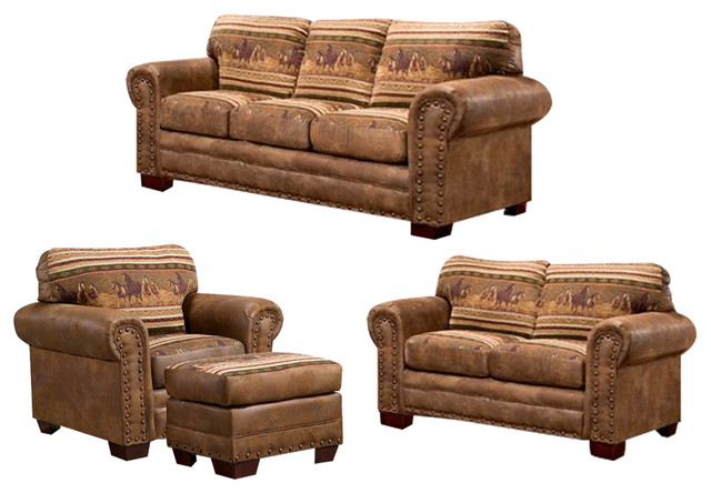 Wild Horses, 4 Piece Set With Sleeper Rustic Living Room Furniture