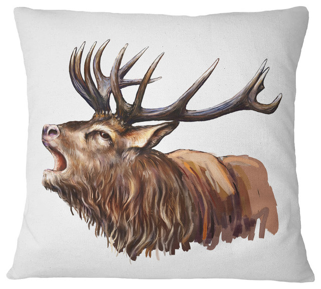 Enjoyable Deer Head Illustration Art Animal Throw Pillow 18X18 Inzonedesignstudio Interior Chair Design Inzonedesignstudiocom