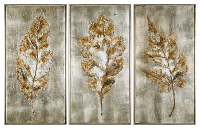 Champagne Leaves Modern Art Set Of 3 Designed By Grace Feyock