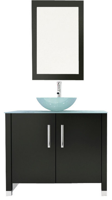Gemini single vanity with top and glass sink 35 5 modern bathroom vanities and sink for Single sink consoles bathroom