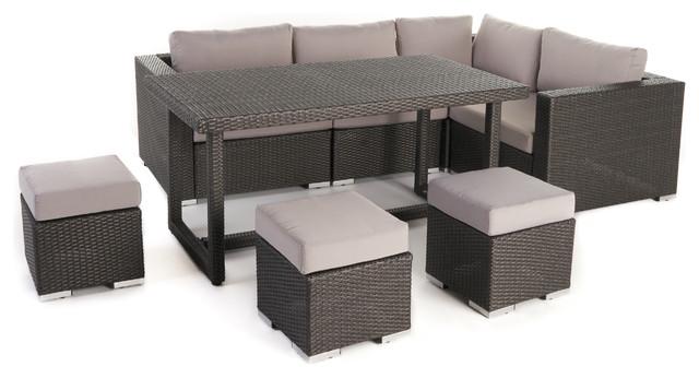 Santa Rosa Outdoor Dining Sofa Set With Aluminum Frame, Gray/silver.
