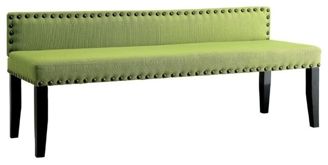 Furniture Of America Herstal Linen Bedroom Bench, Green. -1