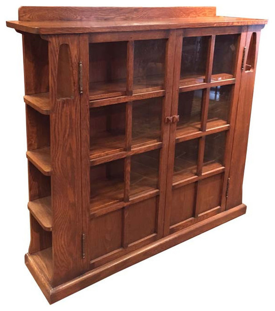 Crafters And Weavers Mission Solid Oak Double Door Bookcase With Side Shelves