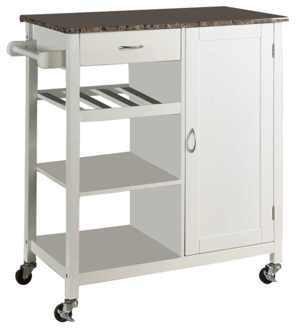 Charlotte Wood And Marble Kitchen Storage Cart White