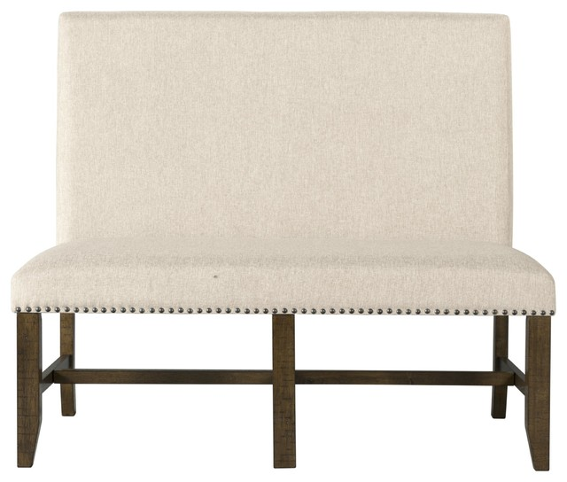 Andrea French Country Tufted Sand Long Dining Bench Banquette: Francis Fabric Back Bench