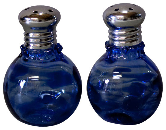 Mini Abstract Blue Salt and Pepper Shaker Set