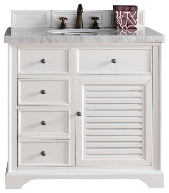 "White Transitional Bathroom Vanities: Savannah 36"" Single Vanity Cabinet, Cottage White"