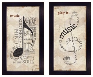 """Music"""" Framed Print, 2-Piece Set - Contemporary - Prints And Posters ..."""