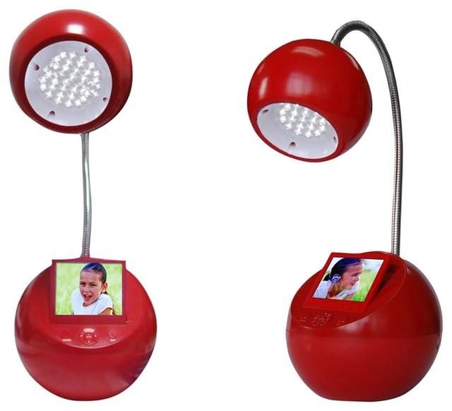 """Sungale 3.5"""" Desktop LED Lamp Digital Photo Frame, Red"""