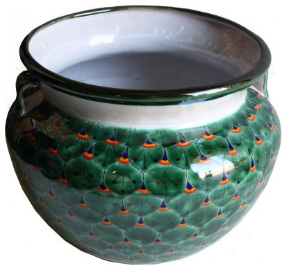 Green Pea Talavera Ceramic Pot Mediterranean Indoor Pots And Planters By Fine Crafts Imports