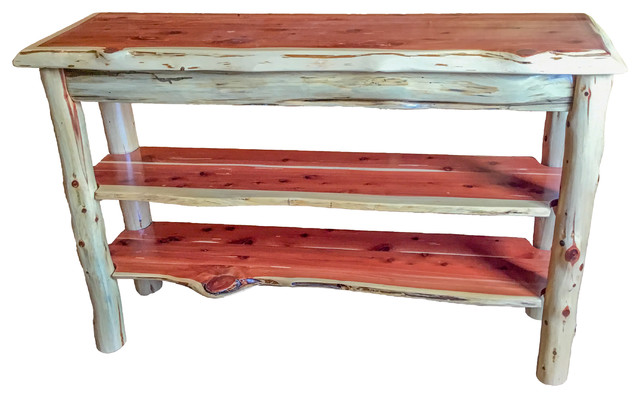 Rustic Red Cedar Log Live Edge TV Stand/Console Table Rustic Console Tables
