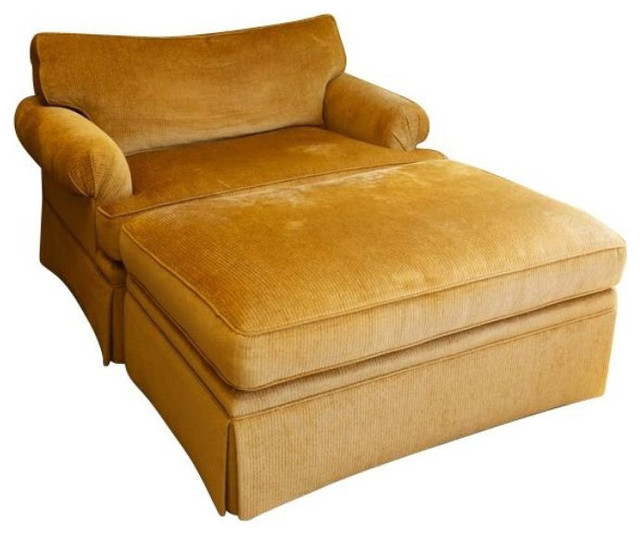 large chenille club chair and ottoman - $4,149 est. retail