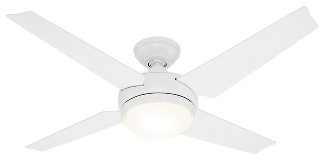 Hunter 52 Sonic White Ceiling Fan With Light And Remote.