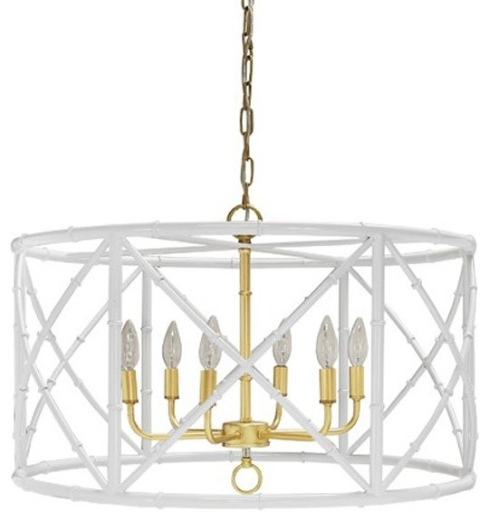 Worlds Away Zia Bamboo Chandelier White With Gold Cer