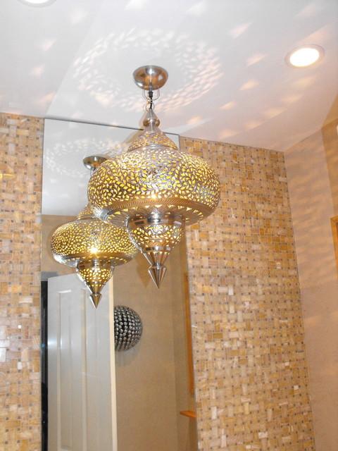 Modern Moorish Bath Light fixture and ceiling light show it puts out ...