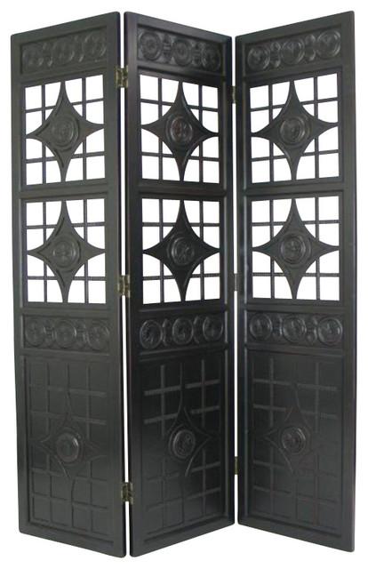 Wayborn Lattice Room Divider In Antique Black Screens And Room Dividers