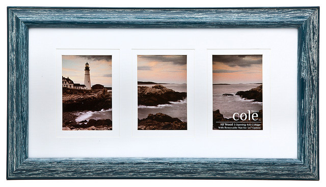 "Wall Picture Frames 3 photo distressed wall frame with matting, 4""x6"" - beach style"