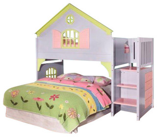 Girls Twin Doll House Loft Bed With Stairs, Drawers & Magazine Rack, Loft Bed