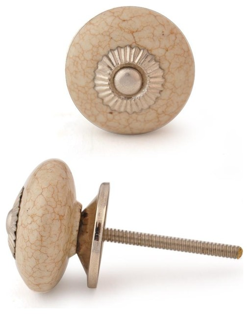 Ceramic Knobs, Cracked Cream, Set of 2 - Cabinet And Drawer Knobs - by Knobco