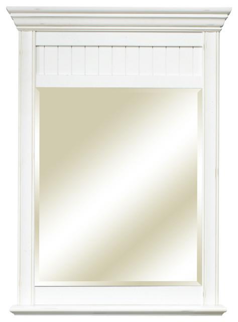 Cottage Retreat Mirror Antique White Beach Style Bathroom Mirrors
