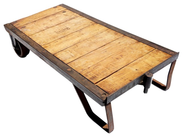 Outstanding Consigned Vintage Industrial Steel And Wood Skid Coffee Table Creativecarmelina Interior Chair Design Creativecarmelinacom