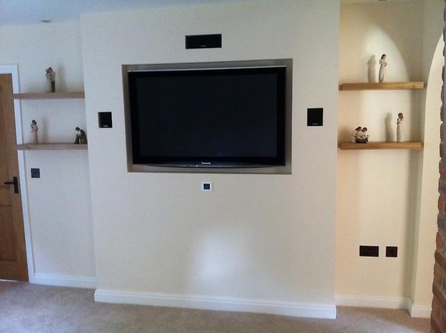 TV Inside A False Wall Modern West Midlands By Home AV - Tv false wall