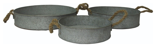 Kitchen Dinning Galvanized Metal Round Tray With Rope Handle 3 Piece Set