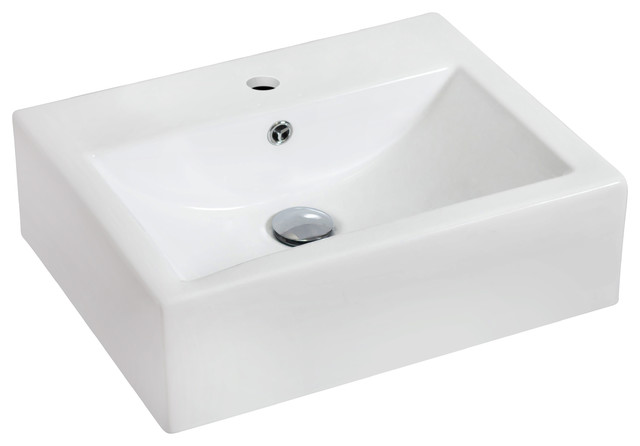 Wall Mount Rectangle Vessel, White Color For Single Hole Faucet.