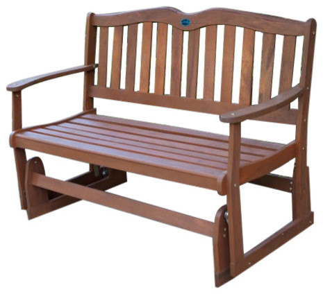 Charmant 4u0027 Outdoor Loveseat Garden Bench Glider With Armrests, Natural Wood Finish